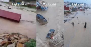 فيضانات بمنطقة القصر الصغير والسيول تجرف سيارات وحيوانات وحاويات تجارية