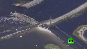 """فيديو يظهر تضرر سد من الإعصار """"فلورنس"""" في كارولينا الشمالية"""