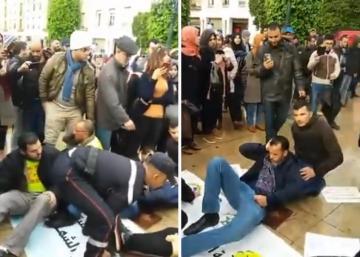 إصابات إثر تعنيف أمني لوقفة احتجاجية للأساتذة حاملي الشهادات أمام البرلمان
